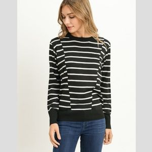 GILLI Contrast Stripe Crew Neck Sweater Black NWT